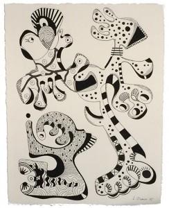 Série 0815/4 - dessin au feutre noir sur papier 25 x 32,5 cm - 2015