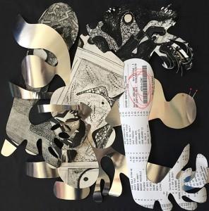 Papiers découpés et feutres 50 x 50 cm - 2015